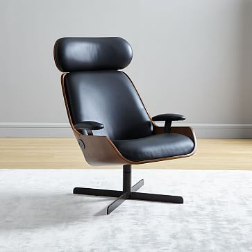 Malcolm Bentwood Leather Swivel Chair Leather Swivel Chair