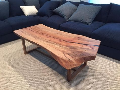 Live Edge Sycamore Coffee Table With Minimal Base Made From The