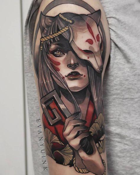 Inari Okami Fox Lady Neo Traditional By Evan Yu Traditional Tattoo Design Japanese Tattoo Neo Traditional Tattoo