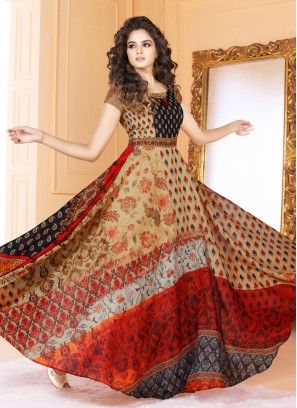 Beige Digital Print Floor Length Gown Party Wear Long Gowns Kurti Designs Party Wear Printed Gowns