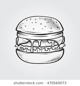 Cheeseburger Hand Draw Illustration Desenho De Hamburguer Desenhos Preto E Branco Tipos De Hamburguer