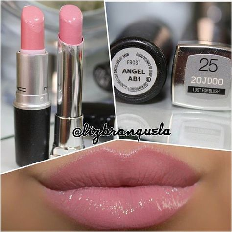 MAC Angel X Maybelline Color Whisper Lust for Blush. Two more very similar, not to say almost identical, including the finish. Mac Lipstick Dupes, Best Lipsticks, Makeup Dupes, Lip Makeup, Beauty Makeup, Makeup Geek, Pink Lipsticks, Mac Blush Dupes, Eyeshadow Dupes