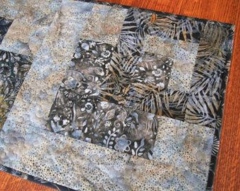 Modern Quilted Batik Table Runner In Neutral Brown Grey And Taupe