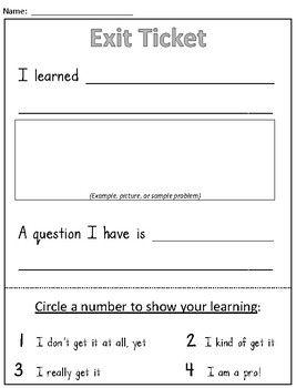 Exit Ticket Formative Assessment Math Classroom Assessment