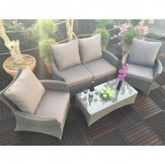Royalcraft Madison Deluxe 4pc Rattan Lounge Sofa Set With Coffee Table With Images Rattan Garden Furniture Outdoor Furniture Sets Garden Furniture