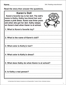 Big Balloons Reading Comprehension Printable Skills Sheets