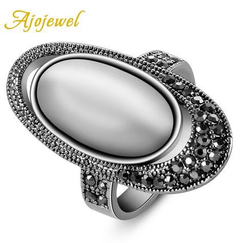 Vendita caldo ajojewel accessori moda di marca antica via retro vintage black cz bianco opale gioielli anelli per le donne