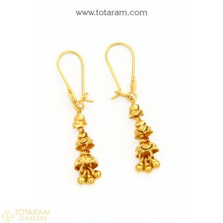 22k Gold Hoop Earrings Ear Bali 235 Ger9542 Buy This Latest Indian Gold Jewelry Design In 2 150 Grams Fo Gold Earrings Designs Jewelry Gold Drop Earrings