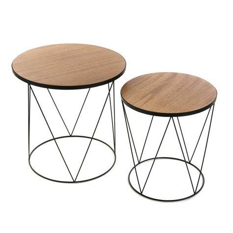 wire noir rondes Set de basses metal tables bois 2 black 8w0OnPk