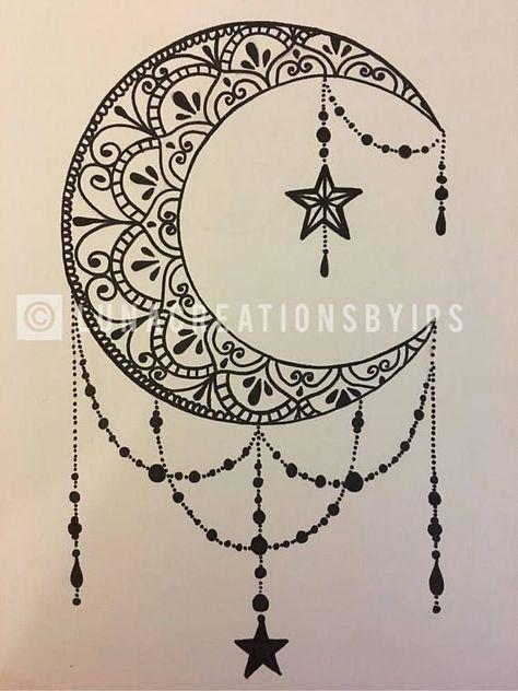 Original Moon mandala handmade Black canvas on white 18 X 24 -  - #Uncategorized