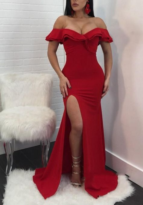 Unique Prom Dresses, Sexy Red Mermaid Side Slit Off Shoulder Sweetheart Prom Dresses, There are long prom gowns and knee-length 2020 prom dresses in this collection that create an elegant and glamorous look