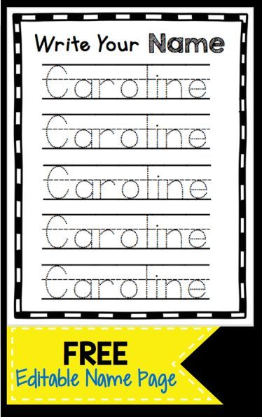 Learn To Write Your Name Freebie Name Writing Practice