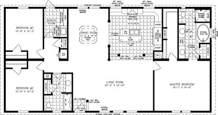Manufactured Home Floor Plan The Imperial Model Imp 46024w 3 Bedrooms 2 Baths In 2020 Mobile Home Floor Plans House Floor Plans Floor Plans