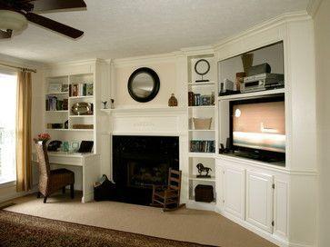 corner basement tv and fireplace | fireplace built ins. desk on ...