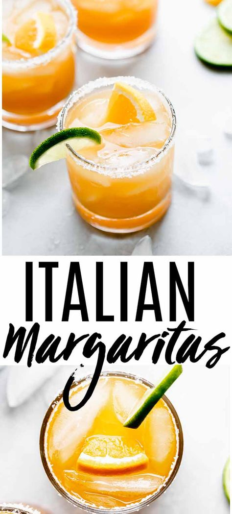 This Italian Margarita recipe is easy to make with just four ingredients! Orange juice, tequila, amaretto and lime juice combine in this delicious cocktail recipe. Orange Juice Cocktails, Juice Drinks, Easy Cocktails, Yummy Drinks, Cocktail Recipes, Healthy Cocktails, Drink Recipes, Alcohol Recipes, Orange Juice Recipes Drinks