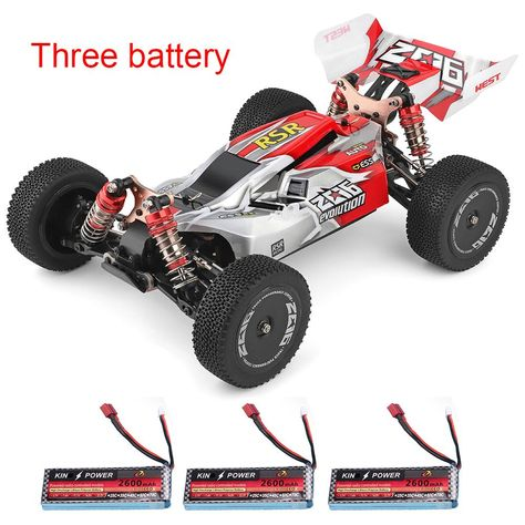 Wltoys 144001 1/14 2.4G 4WD High Speed Racing RC Car Vehicle Models 60km/h Two Battery 7.4V 2600mAh - Three Battery Red