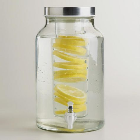 Glass Infuser Dispenser by World Market. Fill the infuser with anything without having to worry about bits of fruit, etc. floating around your water. I'd fill mine with mint leaves and berries for a beautiful display. $24.99