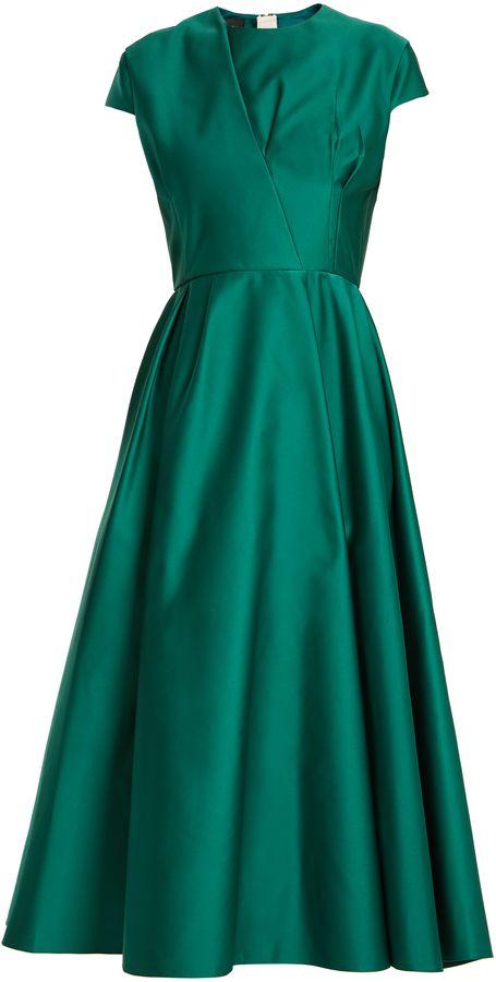 ROCHAS Capped-sleeve duchess-satin dress #aff