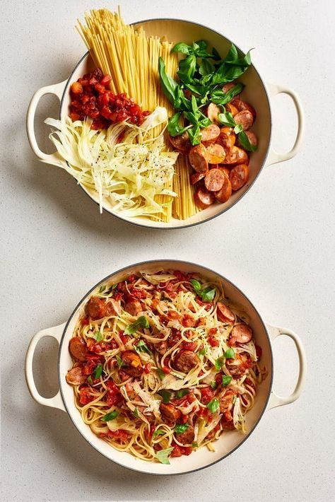 Need recipes and ideas for healthy one pot meals? These simple, fast, and easy dinners cook on the stovetop in one pan. We have meals that are vegetarian, but also some that have shrimp, pork sausage, and chicken. Great for families with kids or just adults. Just 5 ingredients! For the one pictured, you'll need spaghetti or linguine pasta noodles, fire-roasted canned tomatoes, fennel, basil, andouille sausage.