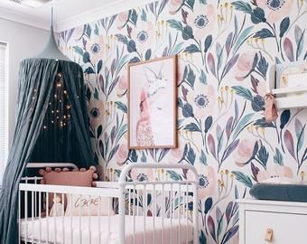 Removable Wallpaper Etsy Removable Wallpaper Nursery Nursery Wallpaper Baby Nursery Wall Decals