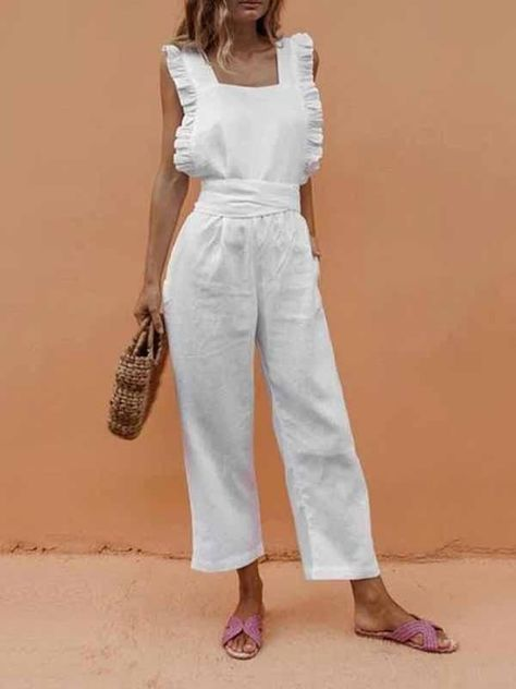 Sexy Backless Sleeveless Linen Jumpsuit – chiclinen jumpsuit outfit jumpsuits casual jumpsuits for women jumpsuits and romper summer romper cute rompers    #jumpsuitromper#jumpsuitelegant#romperswomen#summeroutfit