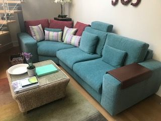 The Main Sofa Has Been Covered In Warwick Fabrics Marco Cyan With Back Cushions On The Useable Corner In O L F6780 01 Bassi Sofa Modular Unit Sectional Couch