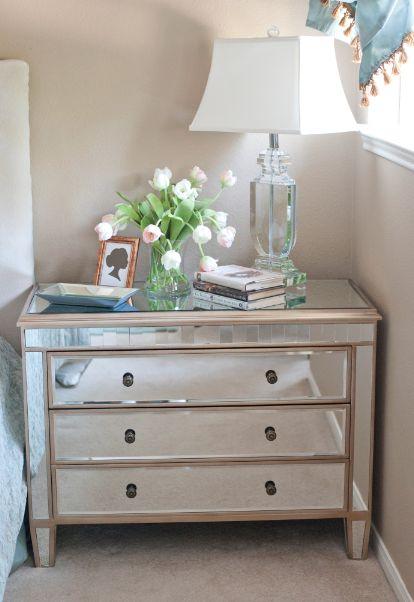 Love the mirrored nightstand Home Pinterest