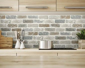 Weathered Gray Brown Rustic Farmhouse Tumbled 3d Stone Peel Etsy In 2021 Brick Wallpaper Peel And Stick Removable Brick Wallpaper Brick Wallpaper