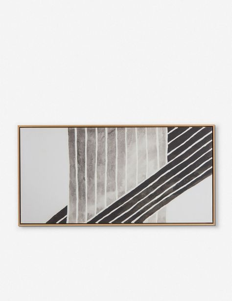 Gray and black watercolor-like stripes intersect amongst each other for a simple yet visually stimulating piece of art. Printed on canvas then mounted to float inside an oak frame. String Wall Art, Diy Wall Art, Home Wall Art, Diy Art, Wall Art Decor, Nail String, Wall Decorations, Room Decor, Large Canvas Art