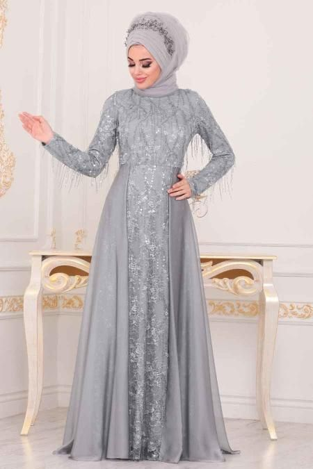 Tesetturlu Abiye Elbiseler Tesetturlu Abiye Elbise Puskullu Gri Tesettur Abiye Elbise 3899gr Model Pakaian Hijab Model Pakaian Pakaian
