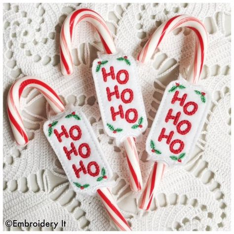 In the hoop Christmas Candy Cane Holder - Candy Cane Slider - Machine Embroidery Instant Download Design