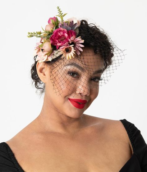 1950s Womens Hats by Style #fascinatorstyles 1950s Women's Hat Styles  History Multicolor Floral Birdcage Veil Sinamay Fascinator $32.00 AT vintagedancer.com