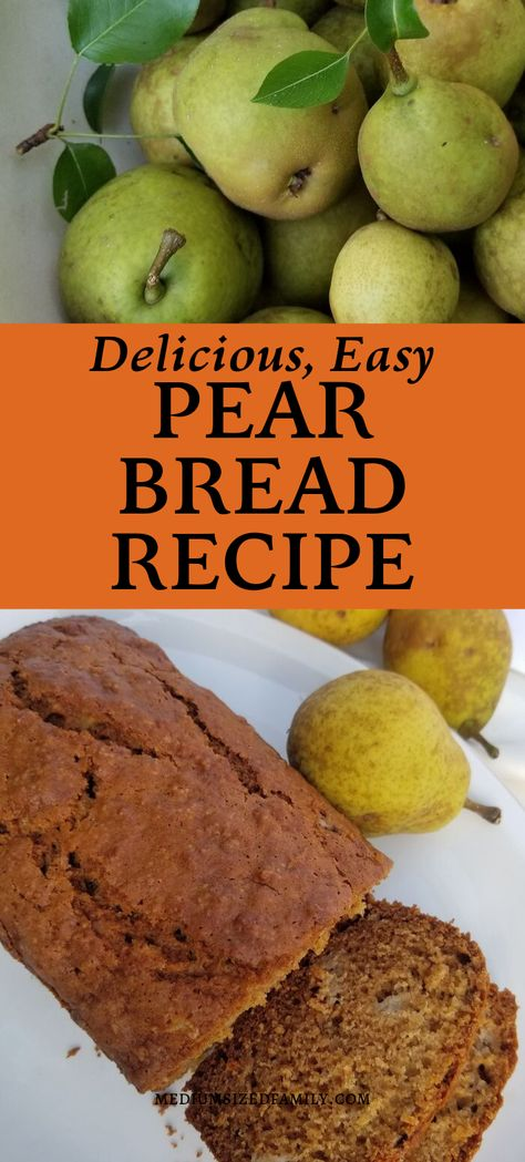 This Scrumptious Pear Bread Recipe Is An Easy Way To Use Pears This easy pear bread recipe is the best way to use pears! It's delicious, and perfect to serve as a snack, breakfast, or take on the go. Pear Recipes Healthy, Pear Dessert Recipes, Fruit Recipes, Bread Recipes, Baking Recipes, Vitamix Recipes, Blender Recipes, Jelly Recipes, Healthy Fruits