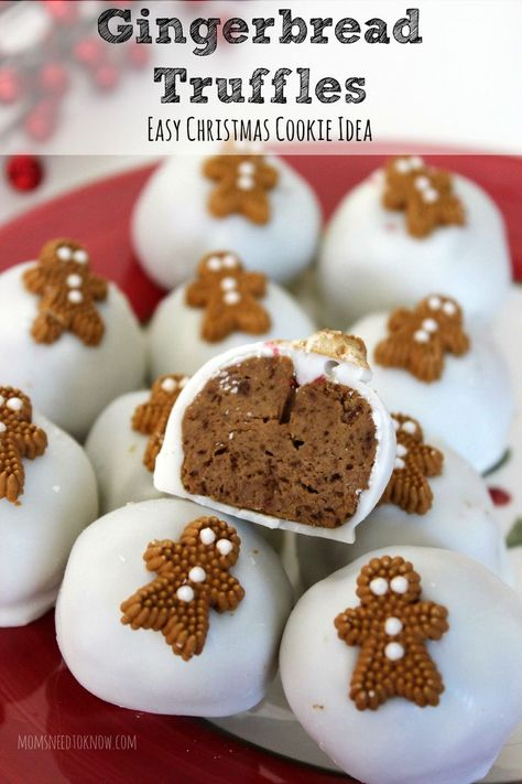Need an easy last minute cookie idea? These no-bake Gingerbread truffles are so easy to make and taste amazing! baking Easy No Bake Gingerbread Truffles Recipe Christmas Truffles, Christmas Snacks, Christmas Cooking, Holiday Treats, Holiday Recipes, Easy Christmas Recipes, Christmas No Bake Treats, Christmas Cookie Exchange, Thanksgiving Sides