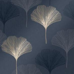 Gingko Leaf Wallpaper Navy Gold Leaf Wallpaper Wallpaper Designs For Walls Love Wallpaper