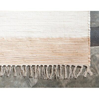 Rugpal Carlotta Striped Cotton Ivory Brown Area Rug Unique Loom Rag Rugs