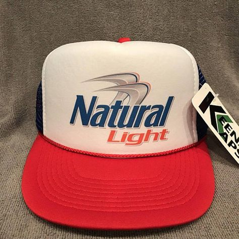 Natural Light Beer Trucker Hat Vintage Snapback Party Cap Red White Blue  2251 c446eb27382