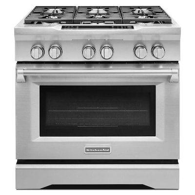 Kitchenaid 36 Inch Gas Range Stainless Steel In 2020 Kitchen Aid Oven Cleaning Stainless Steel Oven