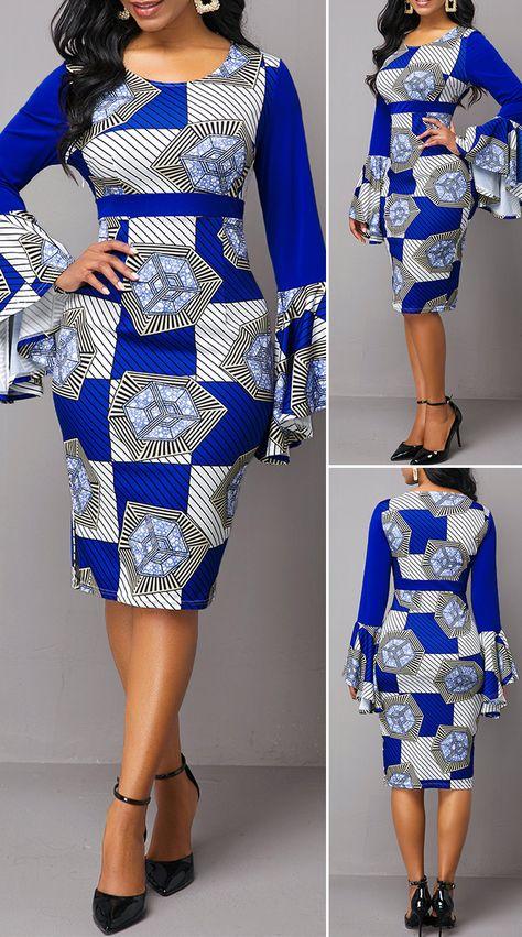 Tribal Print Side Zipper Flare Sleeve Sheath Dress