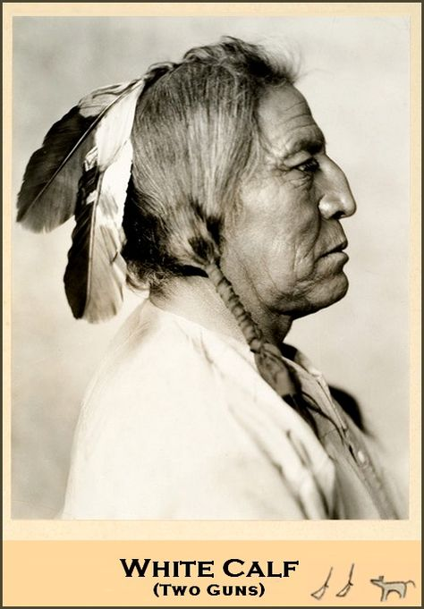 An impressive portrait of White Calf, 1872-1934, Blackfoot chief.  He is one of the most recognizable images of a Native American in the world as an impression of his portrait appears on the Buffalo nickel. The handwriting to the right of card is his own signature.