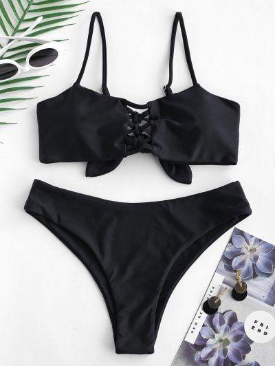 online aquí color rápido disponibilidad en el reino unido Tie Back Criss Cross Bikini Set | trajes de baño en 2019 ...
