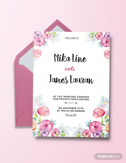 Free Watercolor Floral Wedding Invitation Template Word Doc Psd Indesign Apple Mac Pages Publisher Wedding Invitation Templates Wedding Invitations Printable Templates Free Wedding Invitations