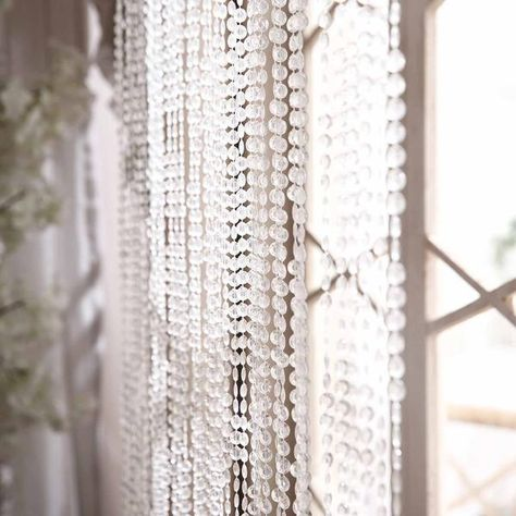 12ft Crystal Diamond Beaded Curtain With Plastic Rod And