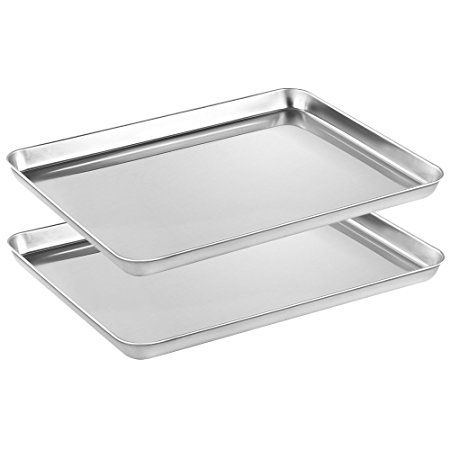 Stainless Steel Baking Sheets Set 2 Heastst Baking Pans For Oven 2 Pieces Cookie Sheets Set Rectangle Size 16 X 12 X 1 Inch Non Toxic Healthy Superior Mir With Images