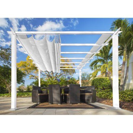 Aspen 11 X 11 White Aluminum Pergola With A Creme Color Convertible Canopy Top Walmart Com In 2020 Outdoor Pergola Aluminum Pergola Pergola Patio