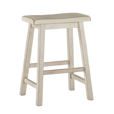 24 Set Of 2 Chimney Hill Saddle Counter Stool White Inspire Q