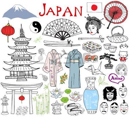 Japan Doodles Elements Hand Drawn Sketch Set With Fujiyama Mountain Japanese Drawings Easy Doodle Art Japan