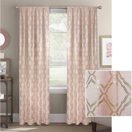 Better Homes And Gardens Metallic Foil Trellis Curtain Panel Walmart Com Pink Bedroom Decor Rose Gold Bedroom Panel Curtains