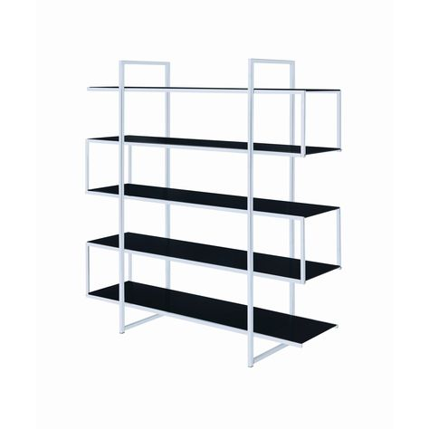 Coaster Contemporary Metal and Glass Bookshelf in Black