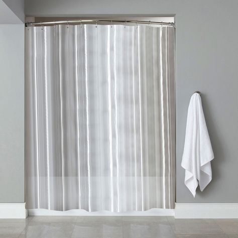 Sweet Home Collection Vinyl Shower Curtain Liner And Chrome Roller